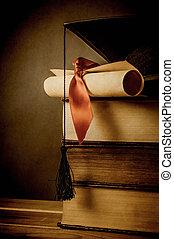 -, education, remise de diplomes, concept, vendange