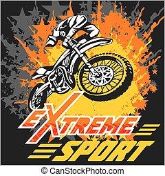 -, emblem., vecteur, moto, sport, extrême