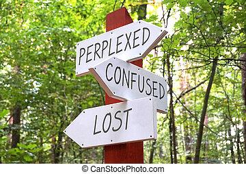 -, flèches, trois, poteau indicateur, concept, perdu