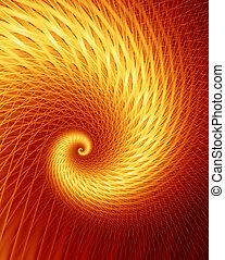 -, fractal, frénésie, chaud