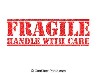 -, fragile, poignée, soin