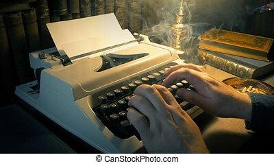-, fumer, étude, romancier, homme, dactylographie, concept