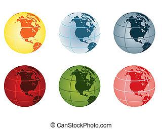 -, globe, amérique, nord