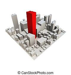-, gratte-ciel, cityscape, modèle, rouges, 3d