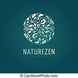 -, herbier, vecteur, médecine, méditation, yang, logo, zen, yin, icône, chinois, concept, alternative, wellness
