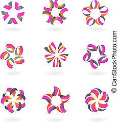 -, icônes, logos, résumé, collection, 2