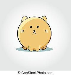 -, illustration, chat, vecteur, épais, figure