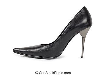 -, isolé, chaussure noire, blanc, womens