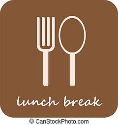 -, isolé, coupure, déjeuner, vecteur, icône