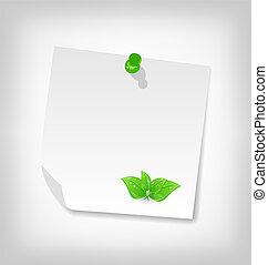 -, isolé, illustration, feuilles, note, vecteur, vert, papier, fond, vide, blanc