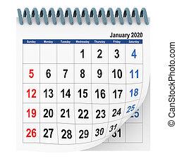 -, janvier, isolé, 3d, rendre, calendrier, 2020
