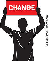 -, jeune, tenue, bannière, changement, homme