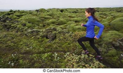 -, jogging, courant, extérieur, coureur, formation, femme, jeune, fitness