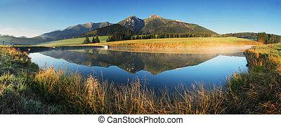 -, lac, panorama, tatras, levers de soleil, slovaquie, montagne