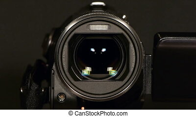 -, lentille, vidéo, appareil-photo., hd, mouvement