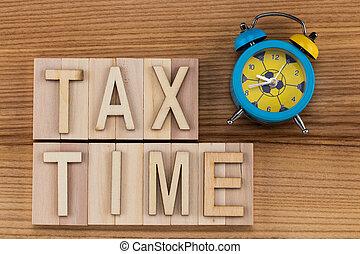 -, lettres, bois, temps, reveil, impôt, texte, blocs, horloge, vendange