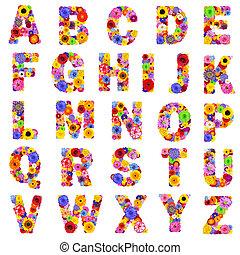 -, lettres, floral, z, isolé, blanc, alphabet, entiers