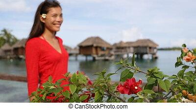 -, luxe, bungalow, voyage, polynésie, tahiti, femme, overwater, vacances, francais