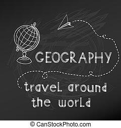 -, main, planche, vecteur, craie, drawn-, école, dos, signe, géographie