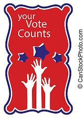 -, mains, vote, compte, ton, élévation