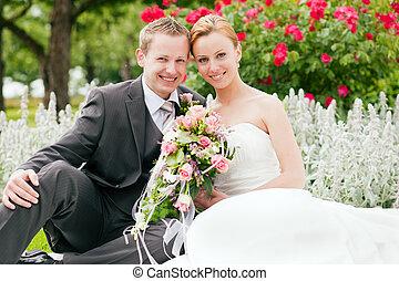 -, mariage, palefrenier, parc, mariée