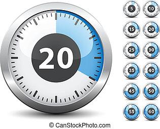 -, minuteur, une, vecteur, chaque, changement, facile, temps, minute