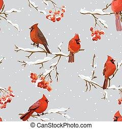 -, modèle, vecteur, rowan, oiseaux, baies, fond, hiver, retro, seamless