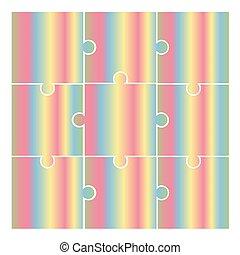 -, morceaux, vecteur, puzzle, couleurs, pictogramme, puzzle, arc-en-ciel