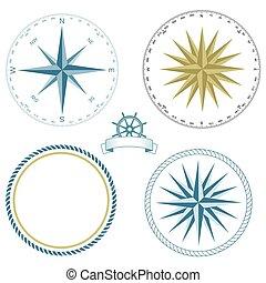 -, nautique, vecteur, ensemble, symboles, rose, illustration.eps, compas