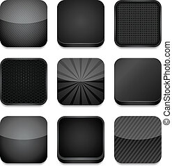 -, noir, app, icônes
