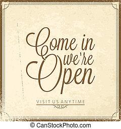 -, nous, lettrage, ouvert, calligraphic