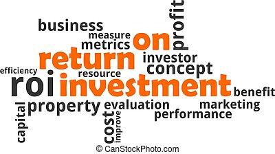 -, nuage, retour, investissement, mot