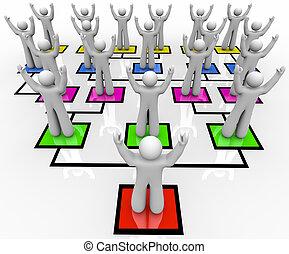 -, organisation, rallier, troupes, diagramme