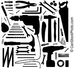 -, outillage, silhouette, illustration, diiy