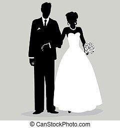 -, palefrenier, silhouette, illust, mariée