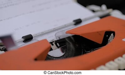-, papier, haut, feuille, view:, vieux, dactylographie, texte, machine écrire, vendange, fin