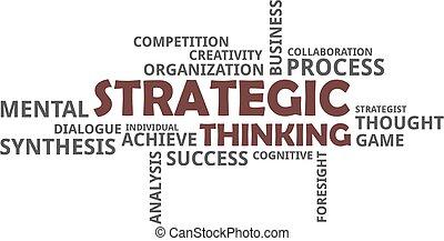 -, pensée, stratégique, mot, nuage