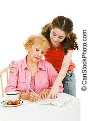 -, portion, paperasserie, grand-maman, vote