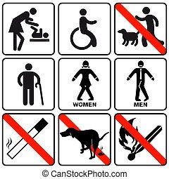 -, prohibition, vecteur, information, signes, ensemble, illustration.eps