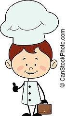 -, projection, pouce haut, caractère, chef cuistot, cuisine