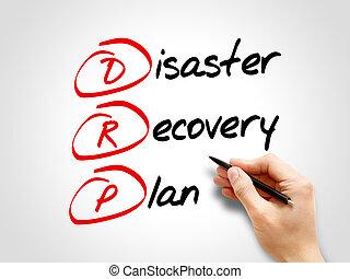 -, récupération, drp, plan, désastre