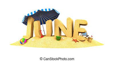 -, sand., mot, illustration, juin, 3d