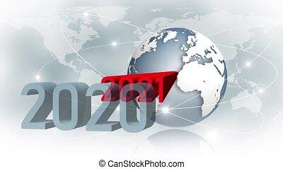 -, satellite, changement, résumé, carte, animation, 2021, anneaux, globe, mouvement, les, la terre, texte, fond, chiffres, année, devant, mondiale, rouges
