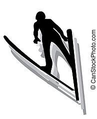 -, sauter, silhouette, skieur