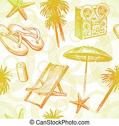 -, seamless, main, exotique, recours, vecteur, fond, dessiné, plage