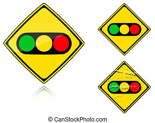 -, signe, lumières, trafic, variantes, route