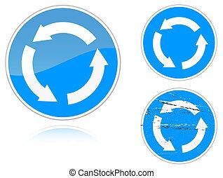 -, signe, mouvement, variantes, route, circulaire