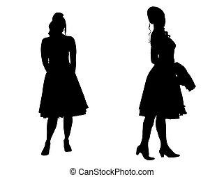 -, silhouette, jeunes femmes