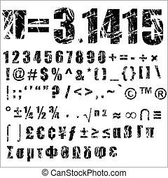 -, symbole, 2, grunge, nombre