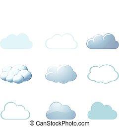 -, temps, nuages, icônes